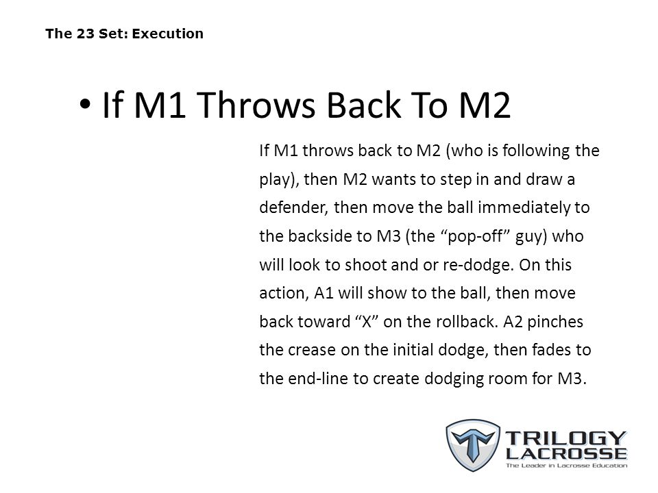 The 23 Set (M1 Throw Back to M2) On the re-direct, M3 will first look to shoot, then he will look inside at A3, or to re-dodge.