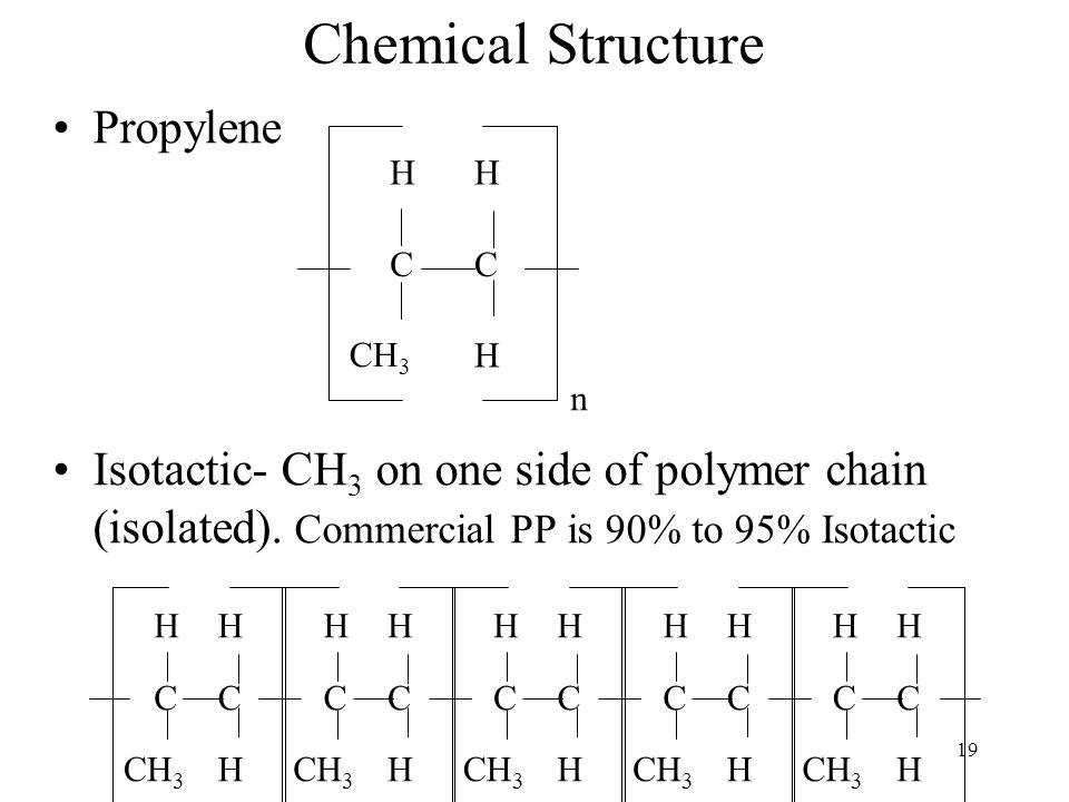 20 Polypropylene Stereostatic Arrangements Atactic- CH 3 in a random order (A- without; Tactic- order) Rubbery and of limited commercial value.