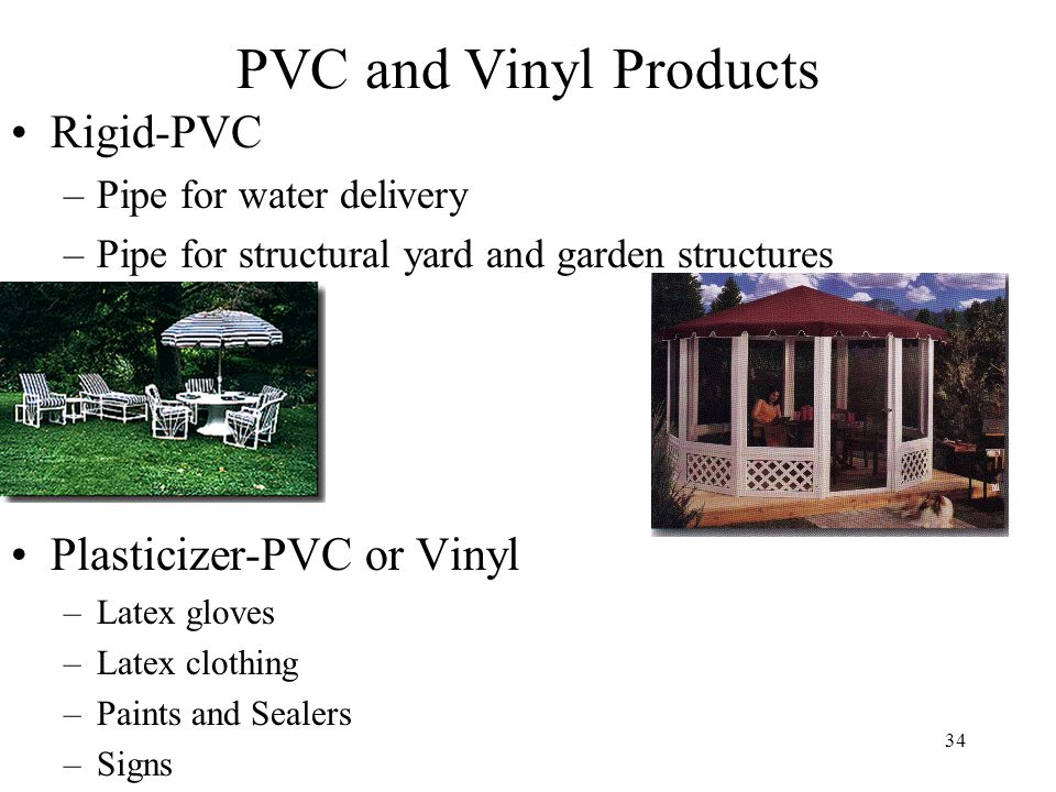35 PVC and PS Chemical Structure Vinyl Groups (homopolymers produced by addition polymerization) –PVC - poly vinylidene - polyvinylalcohol (PVOH) chloride (PVDC) –polyvinyl acetate (PVAc)- PolyStyrene (PS) CC HOCOCH 3 HH CC HCl HH n CC H H n n CC HOH HH n CC H HH n