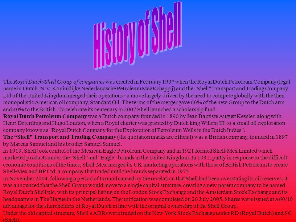 Origin of the name and logo The origin of the brand name Shell is linked to the origins of The Shell Transport and Trading Company.