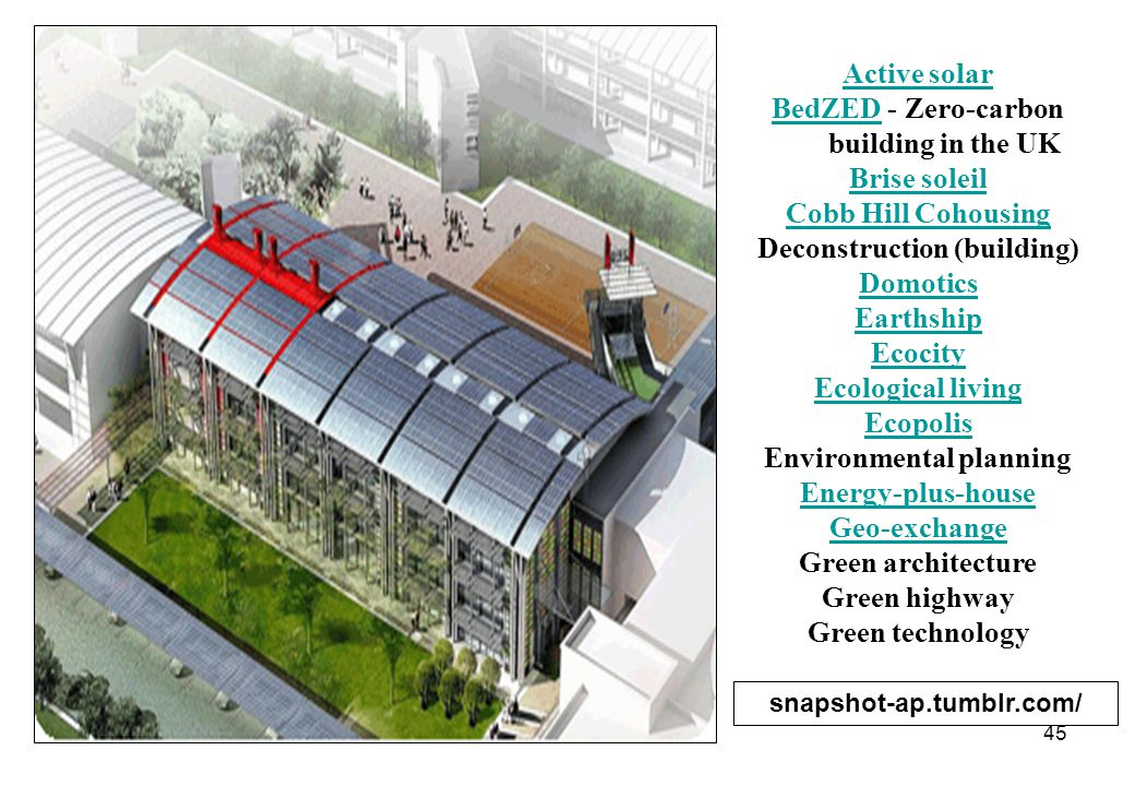 46 International Initiative for a Sustainable Built Environment International Initiative for a Sustainable Built Environment (iiSBE) Low-energy house Metal Roofing Alliance Natural building Natural Capital Center Green redevelopment of a building on the National Register Paragon Space Development Green building engineering Passive house Passive solar Photovoltaics Self-build Sustainability Sustainable design Sustainable development Sustainable habitat Zero-energy building Buildings are major energy consumers, accounting for 40 percent of all energy use in the United States.