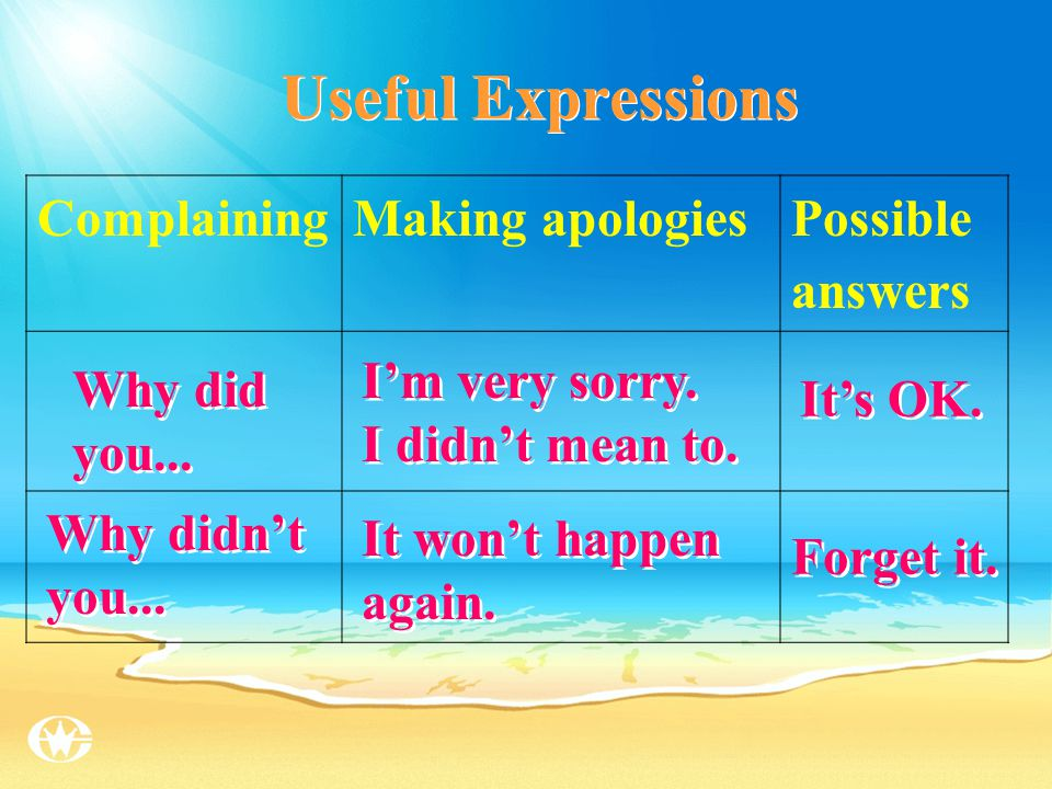 Complaining Making apologies Possible answers You promised to...