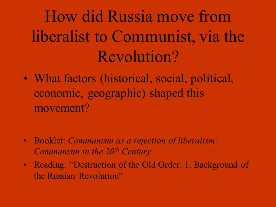 Russia Late 19 th Century Many people in Russia were receptive to the ideas for social reform that sprang up in Europe.