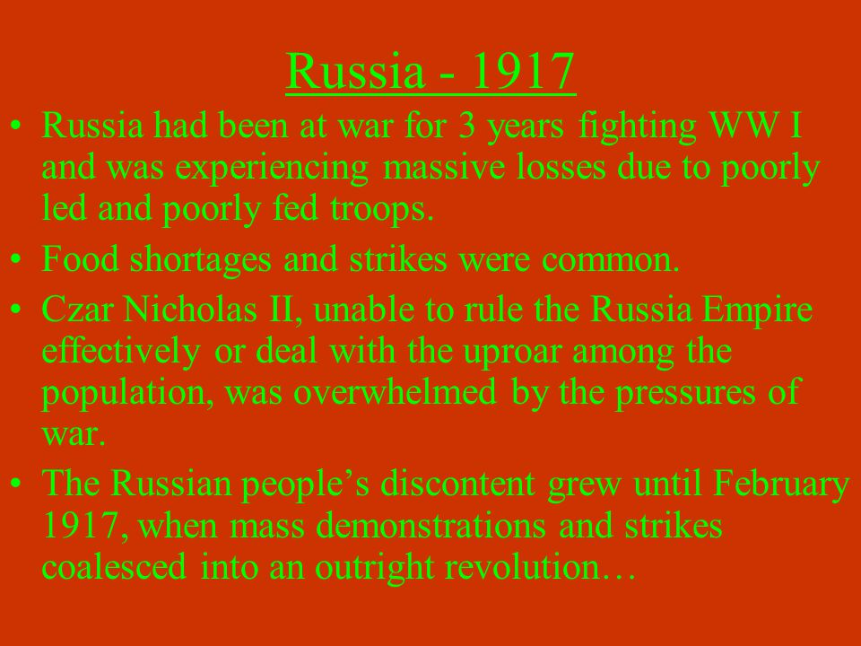 The Formation of the USSR Lenin's slogan of Land, Peace, Bread seemed to win over most of the Russian people.