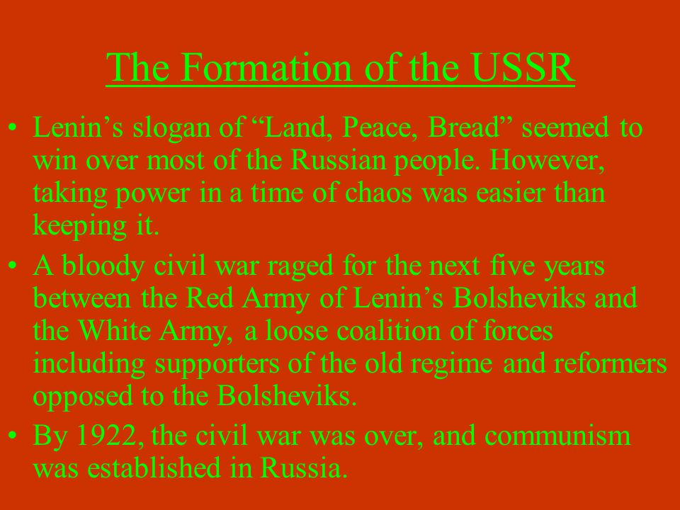 Communism booklet: 5.Effects of the Great War Upon Russia 6.
