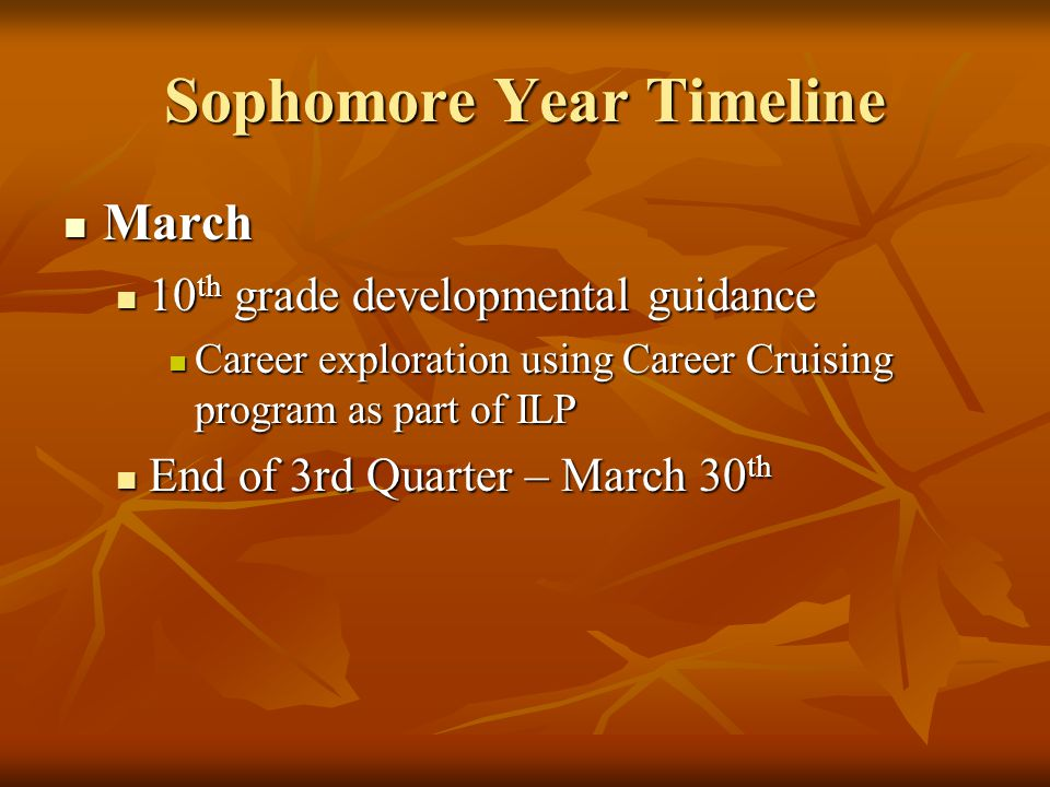 Sophomore Year Timeline April April Consider summer enrichment: Consider summer enrichment: Summer school (brochures sent home late April) Summer school (brochures sent home late April) Specialized Study at camps and universities (many listed on the counseling web page) Specialized Study at camps and universities (many listed on the counseling web page) Volunteer service opportunities Volunteer service opportunities Internship, apprenticeship, work opportunities Internship, apprenticeship, work opportunities PLAN testing PLAN testing