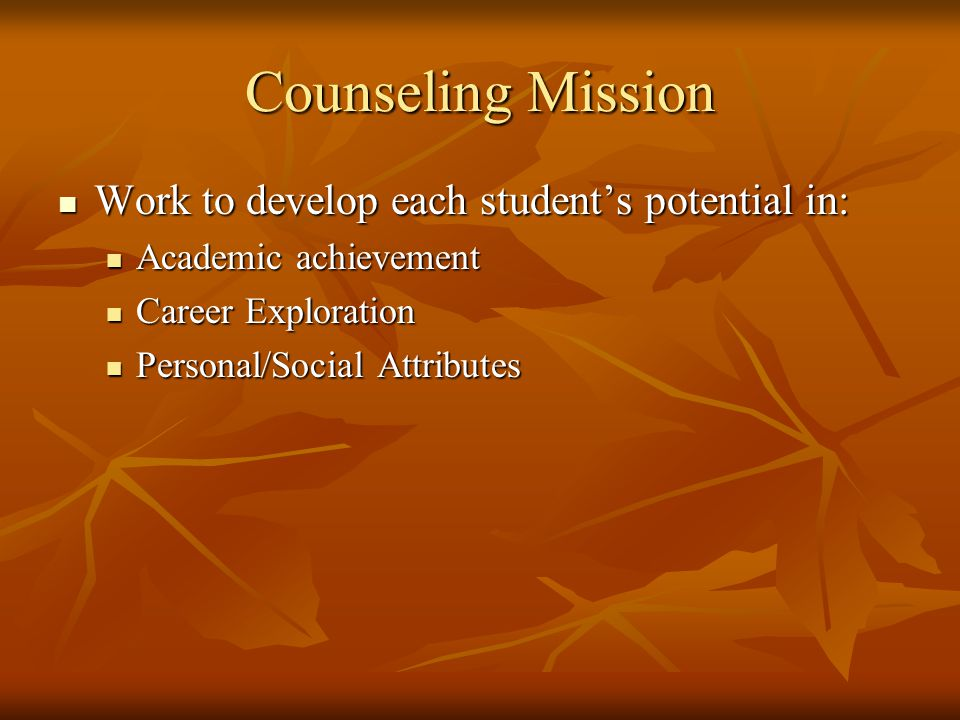 The High School Counselor Role Individual Counseling Individual Counseling Academic Support and Advocacy Academic Support and Advocacy Course Advising and Scheduling Course Advising and Scheduling Career Exploration Career Exploration Testing Programs Testing Programs Post High School Planning and Preparation Post High School Planning and Preparation Collaboration, Referral, Program Communication Collaboration, Referral, Program Communication Consultation, Mediation Consultation, Mediation