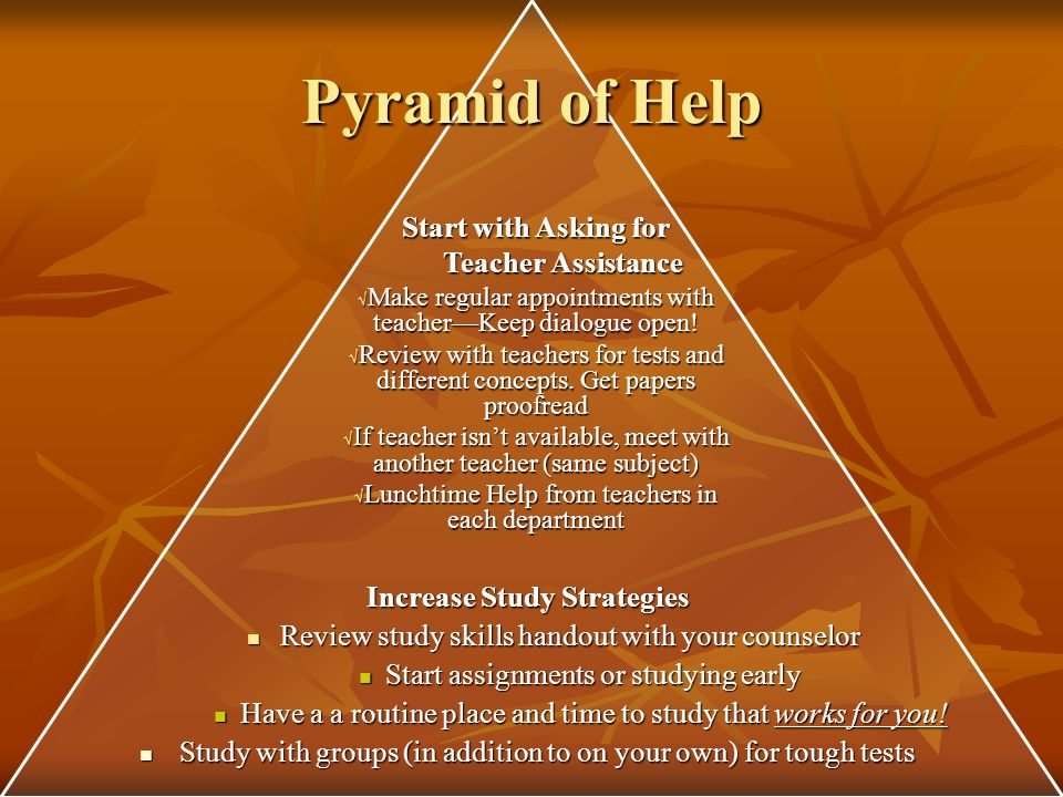 Pyramid of Help Discuss issues affecting school with counselor, psychologist, social worker Discuss issues affecting school with counselor, psychologist, social worker Collaborate with teachers, parents, and students to make a plan, accommodations, or modifications Collaborate with teachers, parents, and students to make a plan, accommodations, or modifications Assessments with School Psychologist Assessments with School Psychologist Get a Tutor Honor Guard (peer tutors) in Resource Hall – Rm.