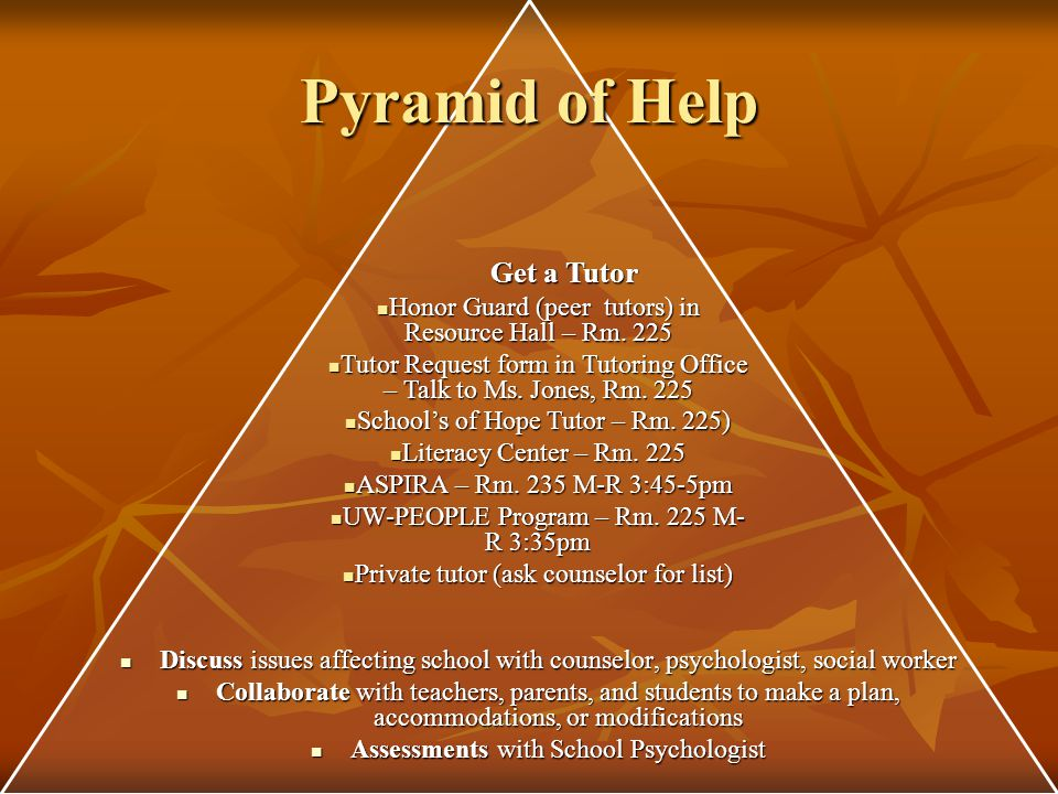 Pyramid of Help Think about and explore Alternatives CRIS CRIS MVC-online course MVC-online course Work and Learn Work and Learn Shabazz Shabazz Night School Night School AERO AERO HSED Program HSED Program Project ROAD Project ROAD Lighten the Load Level changes until 7 th week of semester Level changes until 7 th week of semester Drop a class Drop a class Add a resource hall Add a resource hall