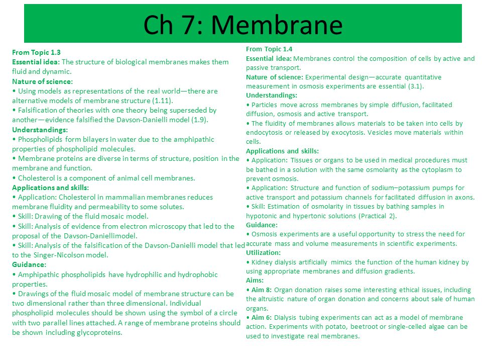 Ch 7: Membrane From Topic 6.1 (introduced in HL 1 but covered in HL 2) Understandings: Different methods of membrane transport are required to absorb different nutrients.