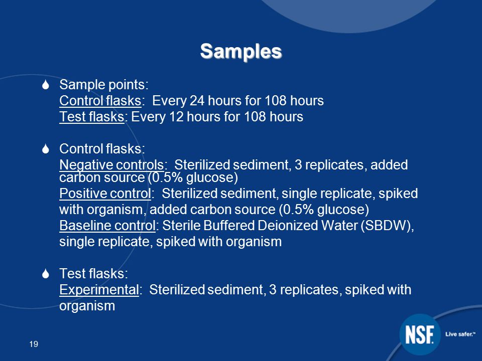 20 Methods Samples were set up and enumerated separately per organism as follows:  Add 40 mL of 100,000 CFU/100 mL organism to 160mL of buffered water with ~1 tablespoon sediment in triplicate flasks  Place on rotary shaker at 25 rpm to provide slight continuous movement at 20-25ºC (68-77ºF)  Sample, dilute and spread plate in duplicate –E.