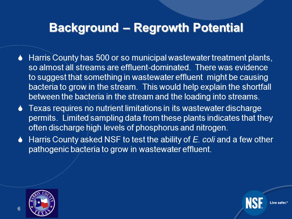 7 Background – Sediment Attachment  EPA issued Harris County a permit to discharge stormwater lakes and streams (MS4 permit).