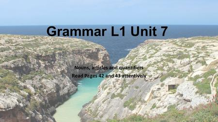 Grammar L1 Unit 7 Nouns, articles and quantifiers Read Pages 42 and 43 attentively.