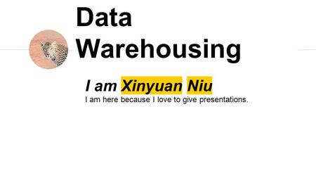 I am Xinyuan Niu I am here because I love to give presentations. Data Warehousing.