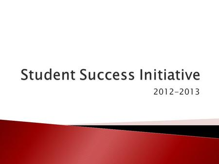 2012-2013.  This presentation does NOT replace reading the Updated for 2012- 2013 Student Success Initiative Manual.