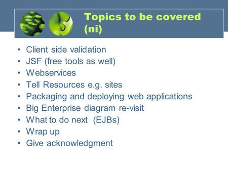 Topics to be covered (ni) Client side validation JSF (free tools as well) Webservices Tell Resources e.g. sites Packaging and deploying web applications.