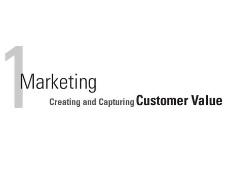 Marketing Marketing involves creating value for customers and building strong customer relationships in order to capture value from customers in return.