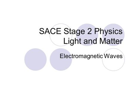 SACE Stage 2 Physics Light and Matter Electromagnetic Waves.