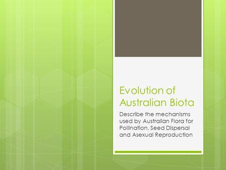 Evolution of Australian Biota Describe the mechanisms used by Australian Flora for Pollination, Seed Dispersal and Asexual Reproduction.