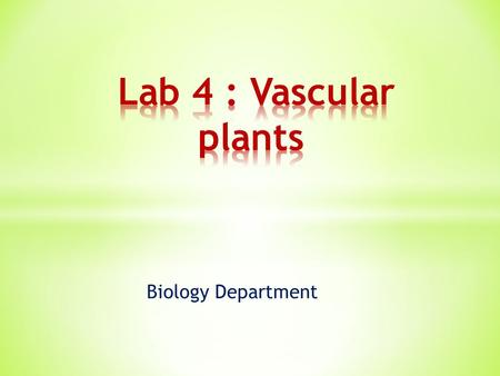 Biology Department. Identify some characteristics of seed vascular plants ( Gymnosperms & Angiosperms )