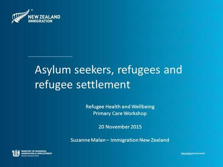 Asylum seekers, refugees and refugee settlement Refugee Health and Wellbeing Primary Care Workshop 20 November 2015 Suzanne Malan – Immigration New Zealand.