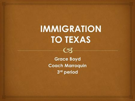 Grace Boyd Coach Marroquin 3 rd period IMMIGRATION TO TEXAS.