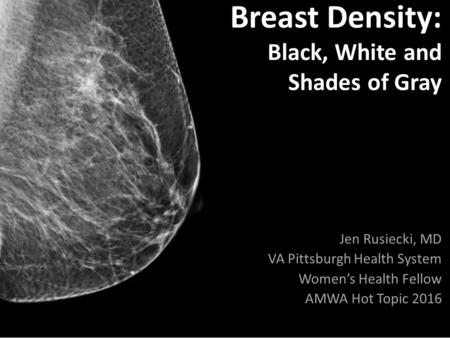 Breast Density: Black, White and Shades of Gray Jen Rusiecki, MD VA Pittsburgh Health System Women's Health Fellow AMWA Hot Topic 2016.