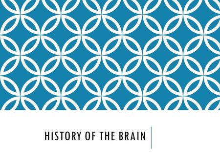 History of the Brain.