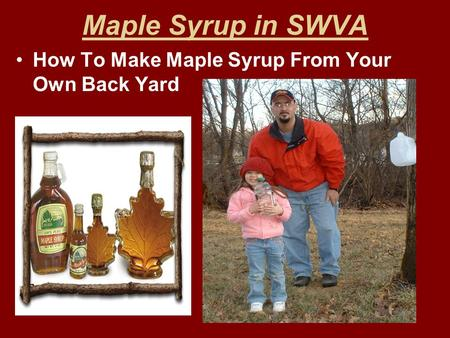 Maple Syrup in SWVA How To Make Maple Syrup From Your Own Back Yard.