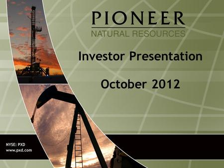 Investor Presentation October 2012. 2 Forward-Looking Statements Except for historical information contained herein, the statements, charts and graphs.