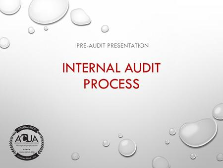 INTERNAL AUDIT PROCESS PRE-AUDIT PRESENTATION. OBJECTIVES OF PRESENTATION  PROVIDE A BASIC UNDERSTANDING OF INTERNAL AUDIT  PROVIDE A BASIC AWARENESS.