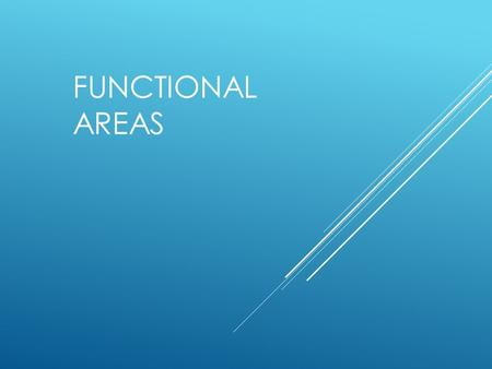 FUNCTIONAL AREAS. ORGANISATION FUNCTIONS  There are usually many different functional areas that make up an organisation. These functions are also known.