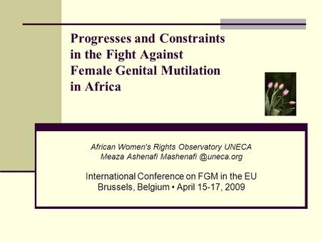 Progresses and Constraints in the Fight Against Female Genital Mutilation in Africa African Women's Rights Observatory UNECA Meaza Ashenafi
