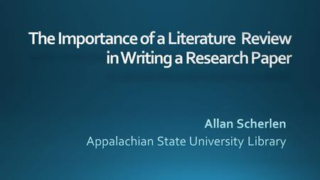 My Paper We build on knowledge that came before us Research is the foundation of a good scholarly paper.