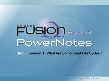 Unit 3 Lesson 1 What Are Some Plant Life Cycles? Copyright © Houghton Mifflin Harcourt Publishing Company.