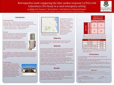 RESEARCH POSTER PRESENTATION DESIGN © 2012 www.PosterPresentations.com Cardiac Troponin Assay Cardiac troponin I is the diagnostic marker used for myocardial.