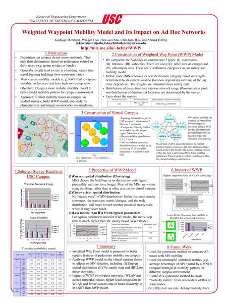 Weighted Waypoint Mobility Model and Its Impact on Ad Hoc <strong>Networks</strong> Electrical Engineering Department UNIVERSITY OF SOUTHERN CALIFORNIA USC Kashyap Merchant,