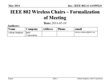 Doc.: IEEE 802.11-14/0592r0 Report May 2014 Adrian Stephens, Intel CorporationSlide 1 IEEE 802 Wireless Chairs – Formalization of Meeting Date: 2014-05-10.