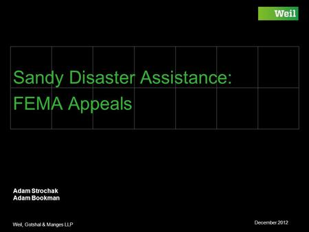 Weil, Gotshal & Manges LLP Sandy Disaster Assistance: FEMA Appeals Adam Strochak Adam Bookman December 2012.