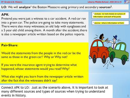 8 th Grade U.S. History Liberty Middle School – EDI 2014-15 1 APK: Pretend you were just a witness to a car accident. A red car ran into a green car. The.