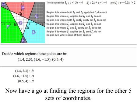 Now have a go at finding the regions for the other 5 sets of coordinates.