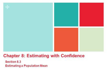 + Chapter 8: Estimating with Confidence Section 8.3 Estimating a Population Mean.