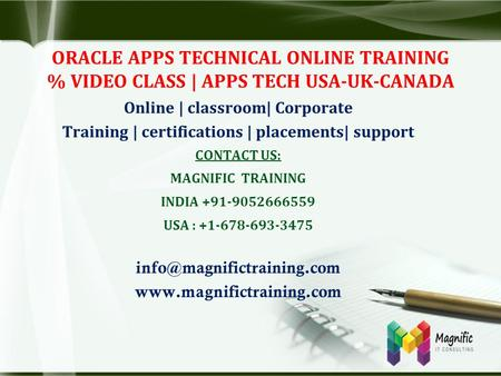 ORACLE APPS TECHNICAL ONLINE TRAINING % VIDEO CLASS | APPS TECH USA-UK-CANADA Online | classroom| Corporate Training | certifications | placements| support.