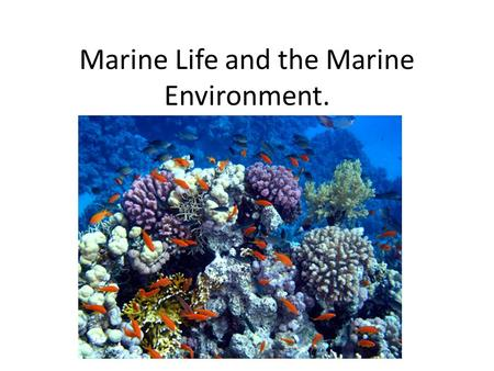 Marine Life and the Marine Environment.. Marine Life/Environment. Marine Biologists have identified over 250,000 oceanic species. This number increases.