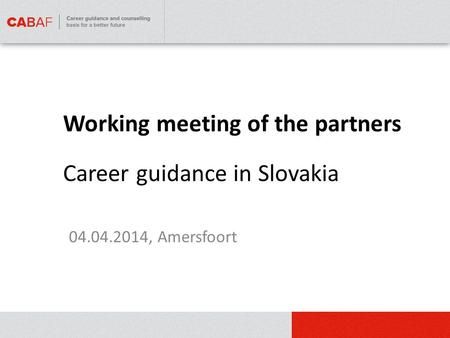 Working meeting of the partners 04.04.2014, Amersfoort Career guidance in Slovakia.