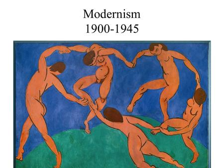 Modernism 1900-1945. Modernism was a reaction to Victorian culture, industrialization, urbanization, and World War I. Modernism represented a rejection.