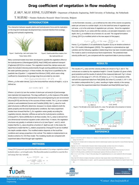 Drag coefficient of vegetation in flow modeling Z. HU*, M.J.F. STIVE, T.J.ZITMAN - Department of Hydraulic Engineering, Delft University of Technology,