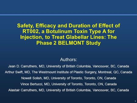 Safety, Efficacy and Duration of Effect of RT002, a Botulinum Toxin Type A for Injection, to Treat Glabellar Lines: The Phase 2 BELMONT Study Authors: