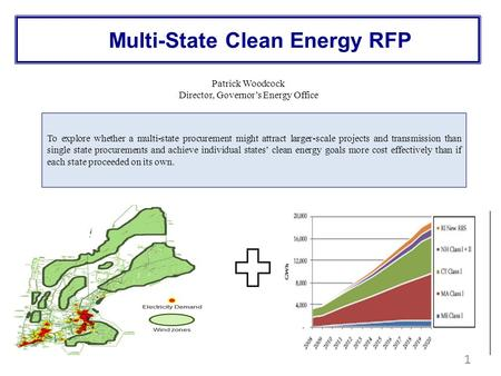 Multi-State Clean Energy RFP 1 To explore whether a multi-state procurement might attract larger-scale projects and transmission than single state procurements.
