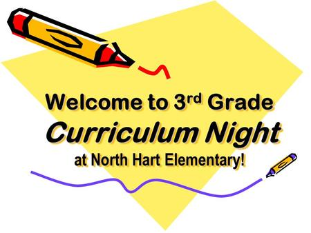 Welcome to 3 rd Grade Curriculum Night at North Hart Elementary! Welcome to 3rd Grade Curriculum Night at North Hart Elementary!